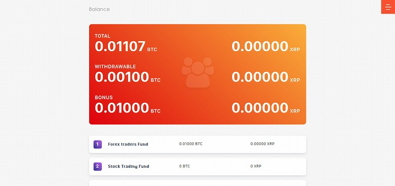 投資2日目のバランスの画面