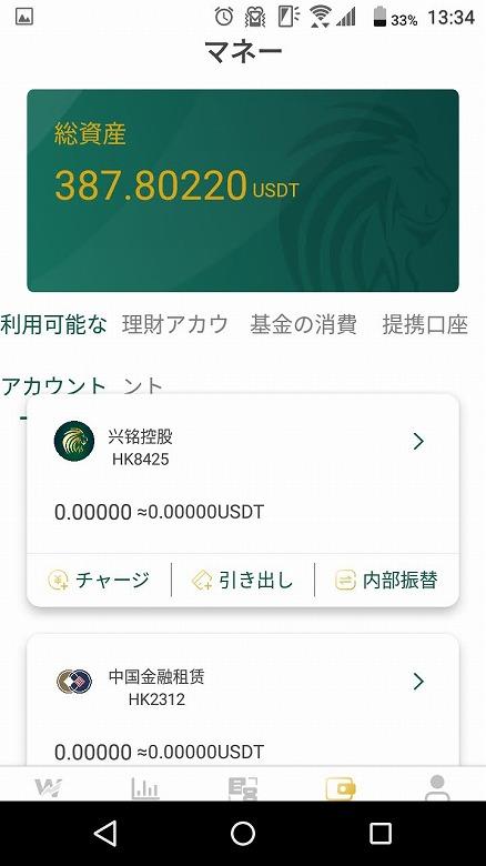 利用可能なアカウントの総資産が約387 USDTに!