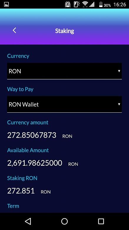 「Currency」で「RON」を「Way to Pay」で「RON Wallet」を選択