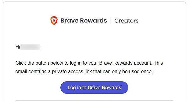 「Log in to Brave Rewards」をクリック