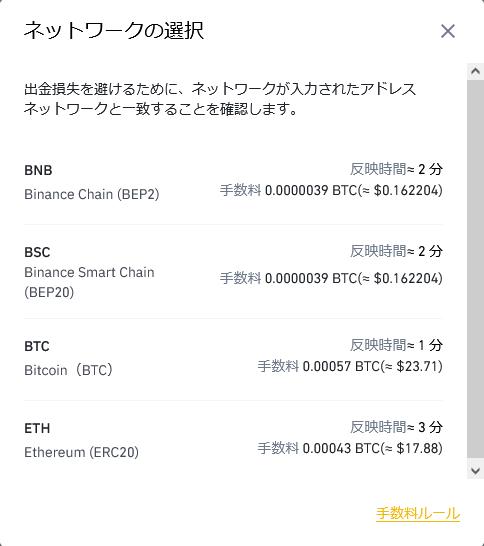 バイナンスのビットコインの送金手数料(2021年7月現在)